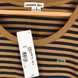 NWT Lacoste Striped Navy and Tan Long Sleeve Shirt